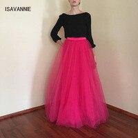 Hot Pink Long 5 Layers Tulle Skirt Hidden Zipper Quality High Waisted Maxi Skirts Womens Adult TUTU Pleated Bridesmaids Faldas