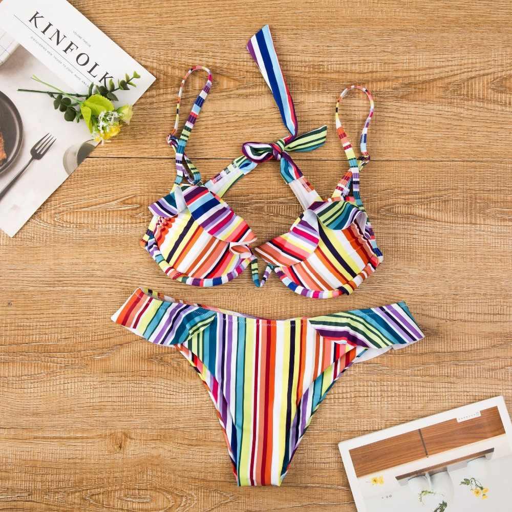 4c72db395c ... 2019 Super Push Up Bikini Dot Print Mini Biquinis Ruffle Bathing suit  women Sexy Wear in ...