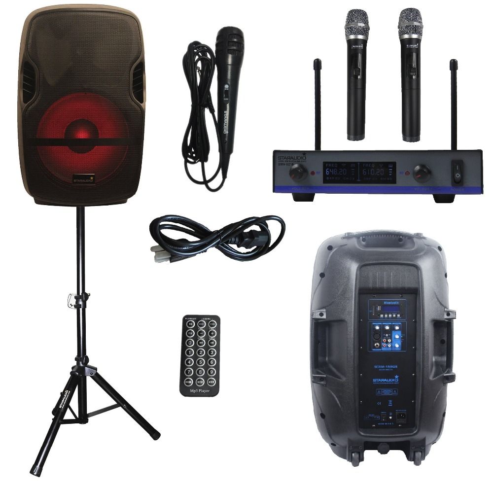 STARAUDIO 152000W PA DJ Stage Club Karaoke Powered Active FM USB SD BT Speaker W/ Light Stand UHF Mic SCSM-15RGB