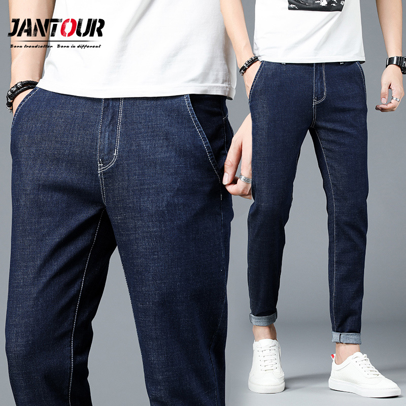 Jeans   Men's Blue Cotton Slim   Jeans   Men's Business Stretch Casual Classic Men's Trousers Denim Pants Szie 28-38 2019 New Fashion