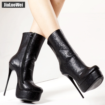 jialuowei Women Fetish Ankle Boots Sexy Super High Heel Platform Boots Crocodile Print Shiny Unisex Party Wedding Female Shoes