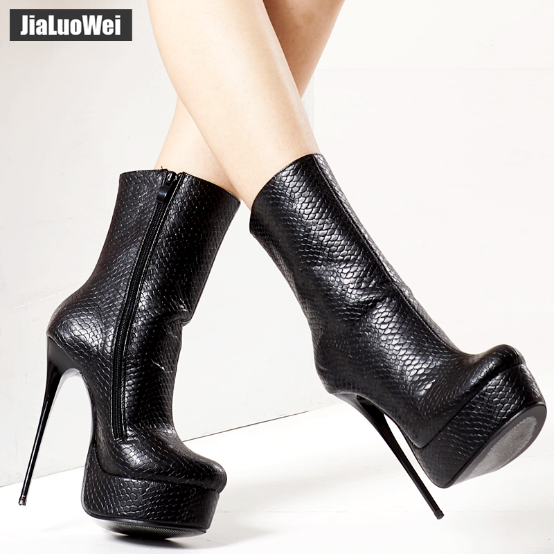 jialuowei Women <font><b>Fetish</b></font> Ankle Boots <font><b>Sexy</b></font> Super High Heel Platform Boots Crocodile Print Shiny Unisex Party Wedding Female <font><b>Shoes</b></font> image