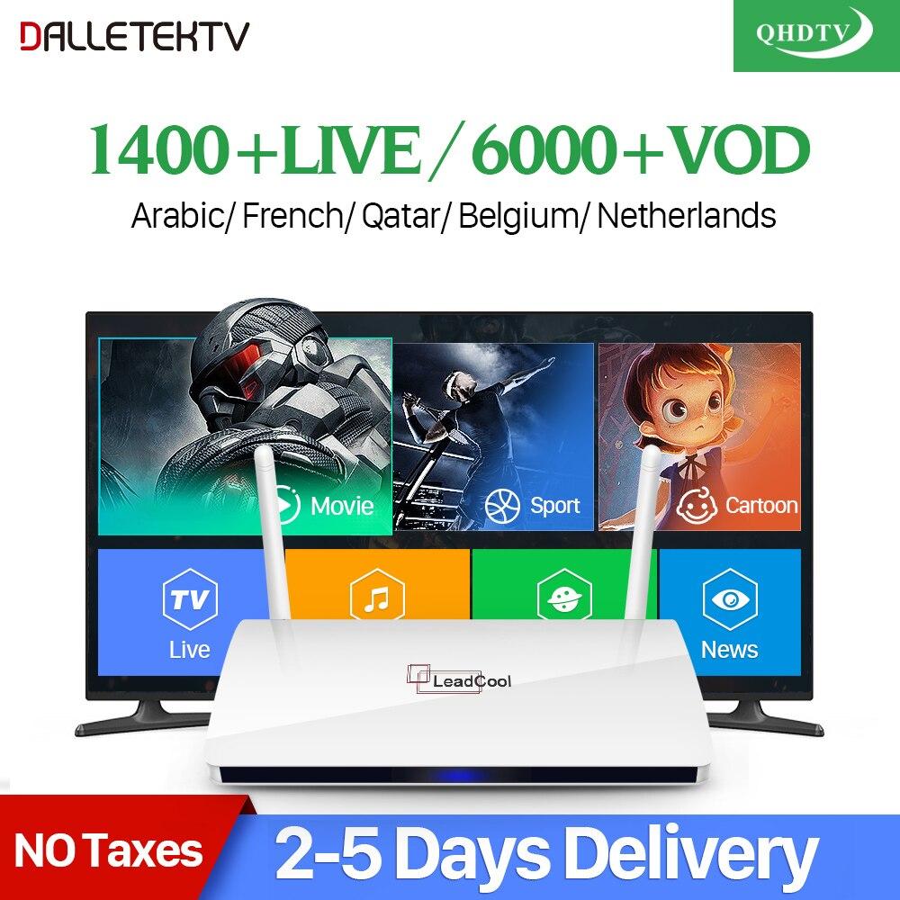 Leadcool QHDTV IPTV Frankreich Box 1 Jahr Code IPTV Spanien Französisch Belgien Niederlande Android 7.1 TV Box Arabisch Frankreich IPTV Top box