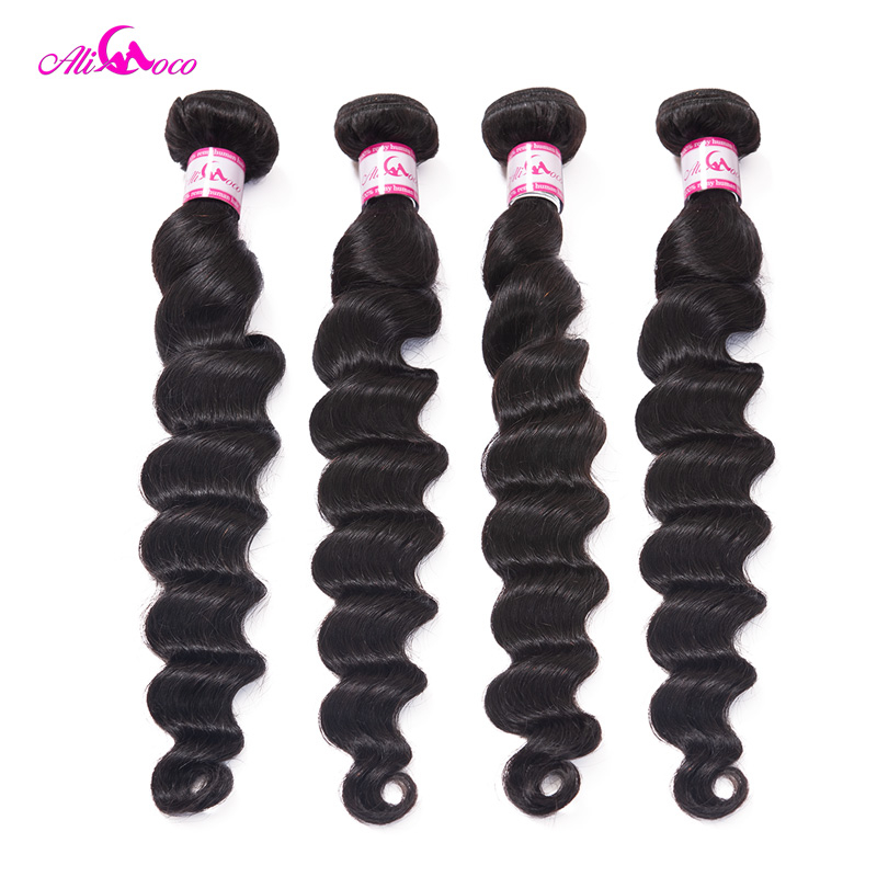 Ali Coco Loose Deep Brazilian Hair Weave Bundles 3/4 Bundles Deal 8-30 Inch Natural Color Non-Remy Human Hair Bundles