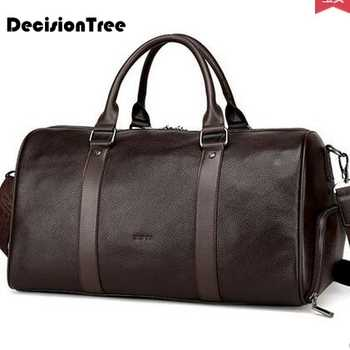 Fashion Genuine Leather Travel Bag Casual Men Handbags Cowhide Men Crossbody Bag Large Capacity Luggage Solid Color Zipper Bags - DISCOUNT ITEM  23 OFF Luggage & Bags