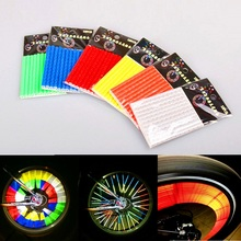 12 Pieces Bicycle Spokes Warning Reflective Tube Clip Light Moutain Road Bike Safe Cycling Wheel Rim Steel Riding Bike Reflector 12 pcs bicycle wheel reflective spokes stickers rim steel wire safe accessories green