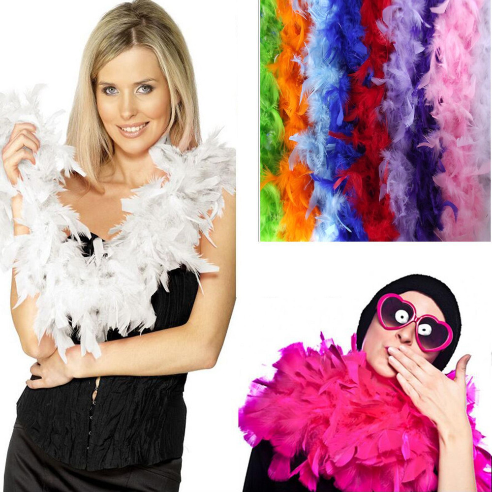 2m 1Pc Vouge Long Fluffy Feather Boa for Party Wedding Dress up Costume Decor For Fancy Dress Party Colorful