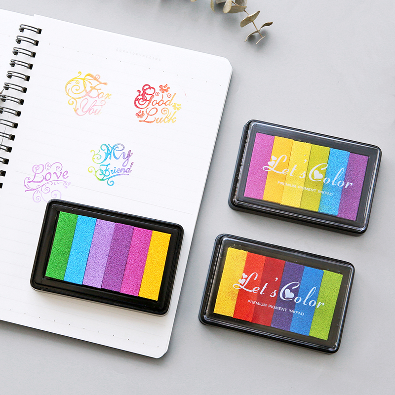 1pc Creative Rainbow Gradient Colourful Inkpad Oil Based Craft Ink Silicone Stamp Card Making Wood Paper DIY  Craft Gift