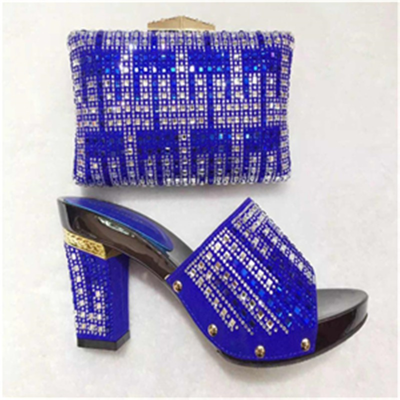 ФОТО Blue Shoes And Bags To Match Ladies Shoes For Wedding With Stones High Quality Shoes And Bag Set For Party Size 37-43 TT10