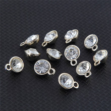 High Grade Gold Color Alloy Round Rhinestone Charms Pendant For Jewelry Making DIY Accessories 50pcs