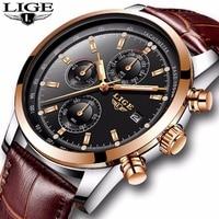 2018 LIGE Mens Watches Top Brand Luxury Leather Quartz Watch Men Military Sport Waterproof Gold Watch