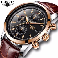2018 LIGE Mens Watches Top Brand Luxury Leather Quartz Watch Men Military Sport Waterproof Gold Watch