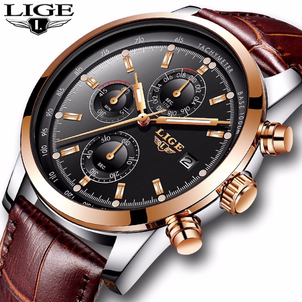 LIGE Mens Watches Top Brand Luxury Leather Casual Quartz Watch Men Military Sport Waterproof Clock Gold Watch Relogio Masculino new mens watches top brand naviforce luxury men quartz watch casual sport military watches male leather clock relogio masculino