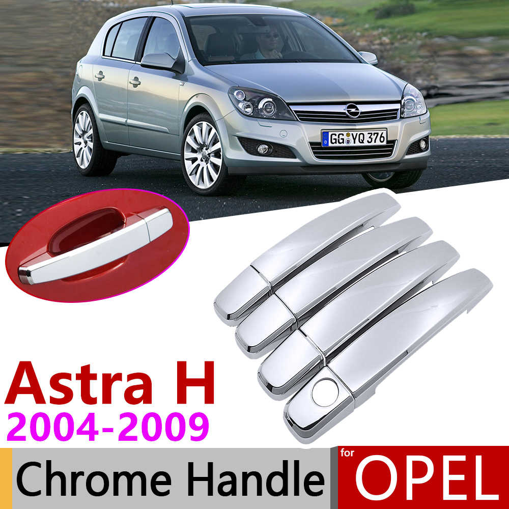 Pour Opel Astra H 2004 ~ 2009 Vauxhall Holden famille Chrome poignée de porte couverture voiture accessoires autocollants garniture ensemble 2005 2006 2007 2008