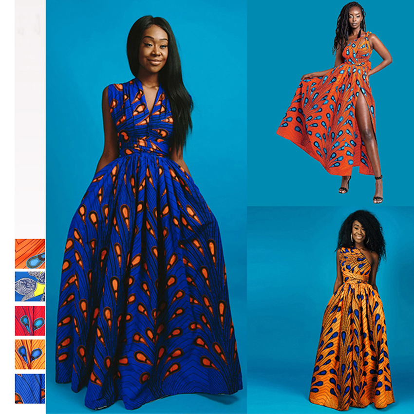 Summer African Dresses For Women 2019 News Fashion Robe Long Dress Floral Print Bazin Vestidos Dashiki Party African Clothes(China)
