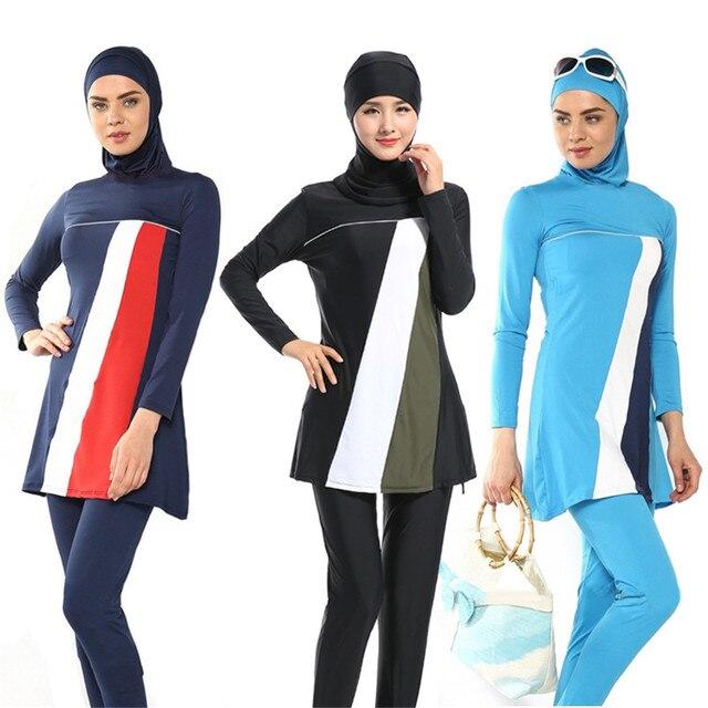 bd1ded0b9d41e 3 Colors Summer Women Muslim Swimming Islam Clothes Islamic Swimsuit Adult  Arabic Swimwear Long Full Cover Suit Plus Size S-4XL