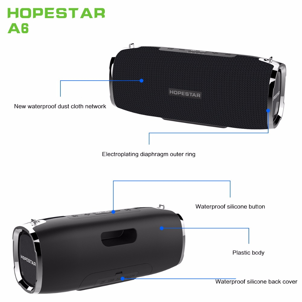 Image 3 - HOPESTAR A6 Bluetooth Speaker Portable Wireless Loudspeaker Soundbar 3D stereo Outdoor Waterproof Big Power Bank 35W-in Portable Speakers from Consumer Electronics
