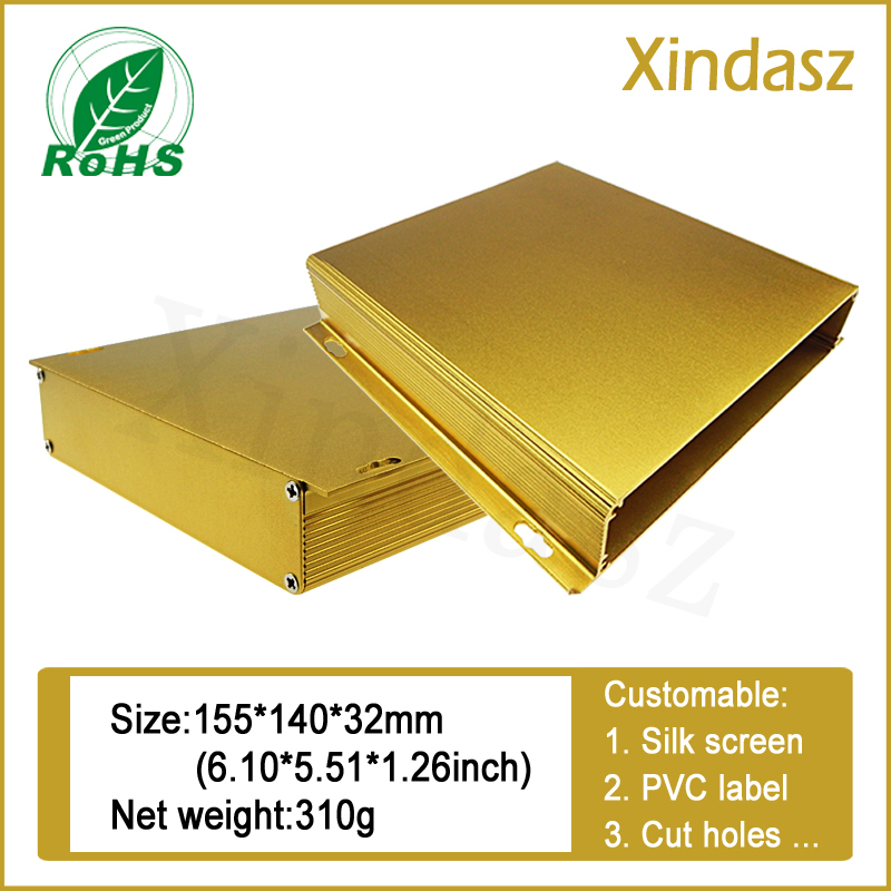 155*155*32mm Golden Wall mounted Aluminum electronic enclosure electrical aluminum project enclosure box 30a esc welding plug brushless electric speed control 4v 16v voltage