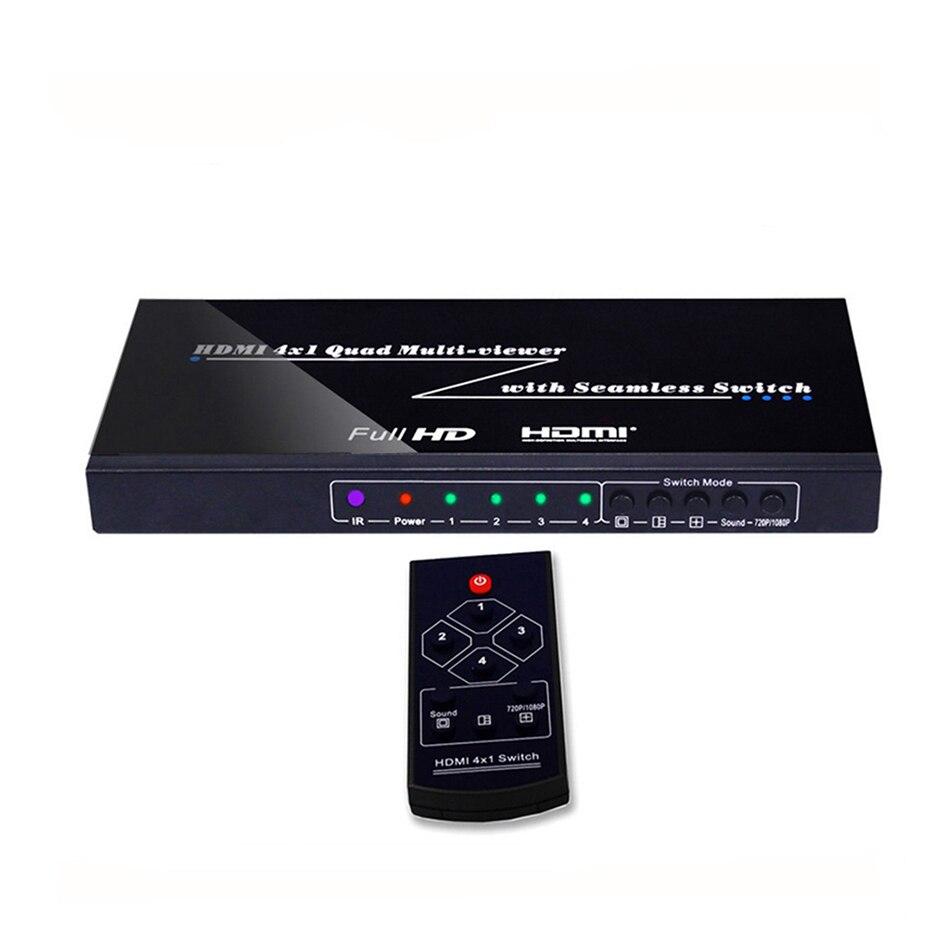 HDMI Multiviewer 4X1 Quad Multi Viewer Splitter с бесшовным переключателем ИК управления выходным разрешением до 1080 p