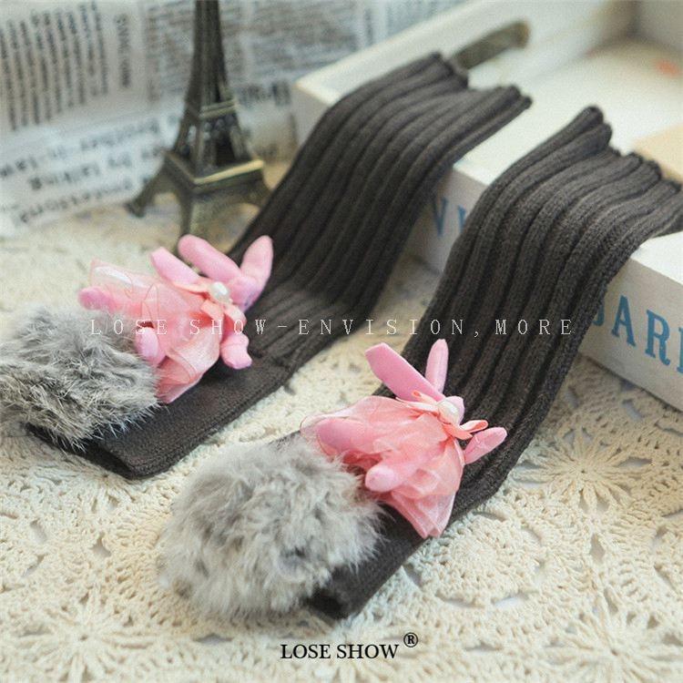 Fluffy Ball Rabbit Women's Gloves Wrist Arm Warmer Winter Spring Fingerless Mitten