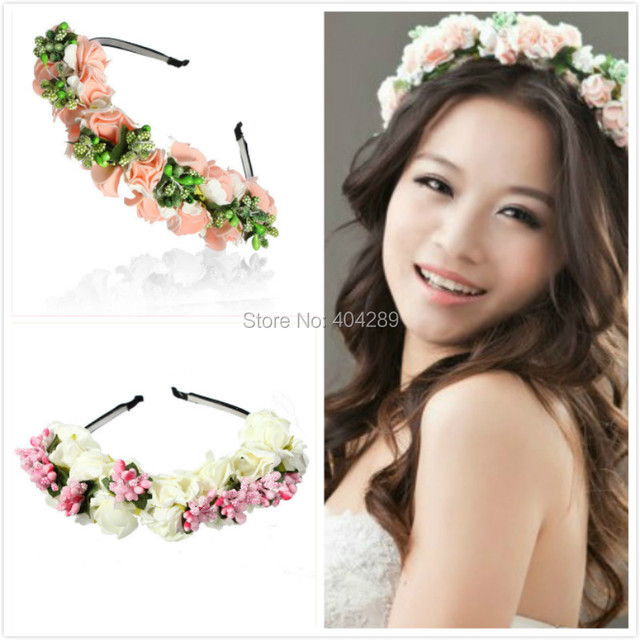 Flower Hairband Bridal Wedding Hair Accessories Wreath For Kids Head Tiara Garland Rose Crown