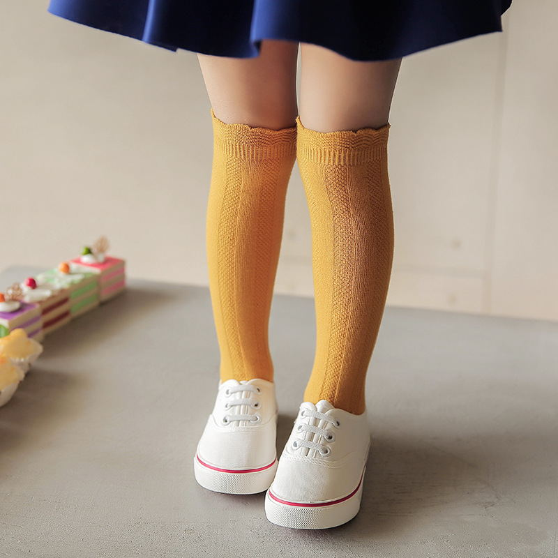 Children Cuff Tube Socks Combed Cotton with Heel Baby Girls Socks Spring Autumn Wholesale 1-10 Years