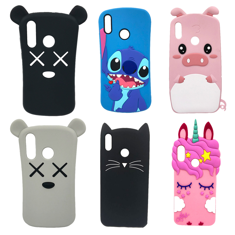 For Huawei P30 Pro Case Cover P30 Lite Cartoon 3D Cute Bear Cat Cases For Huawei P30 Back Cover P30pro Soft Silicone Full Cover in Fitted Cases from Cellphones Telecommunications