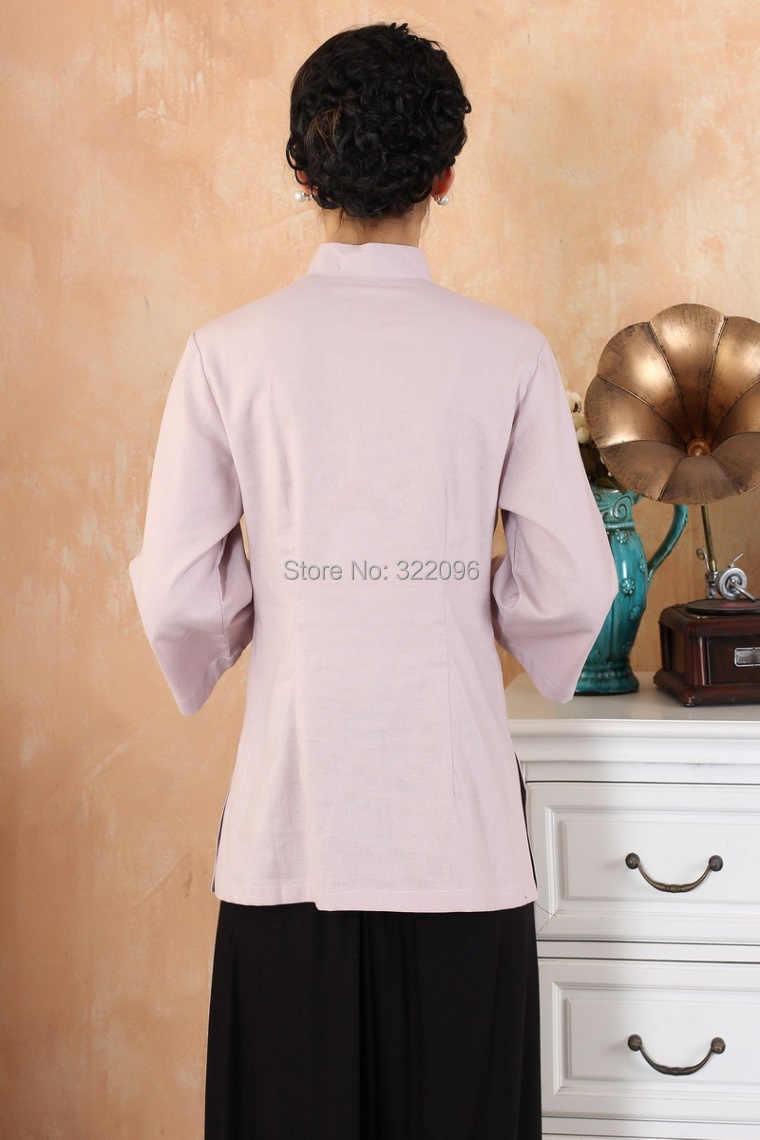 上海ストーリー長袖マンダリン襟繁体字中国語トップスリネントップ蓮プリント袍シャツ中国ブラウス3色