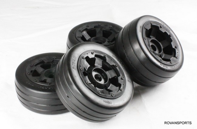 rc car smooth wheel with slick tire on road tyre for 1/5 scale HPI Rovan Baja 5B 5b front highway road wheel set ts h95086 x 2pcs for 1 5 baja 5b wholesale and retail