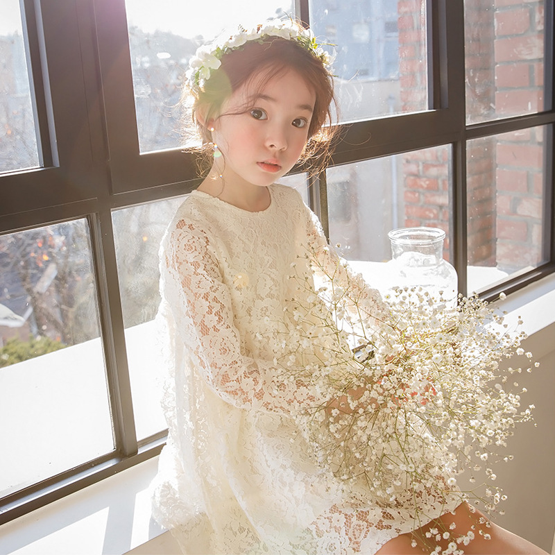 2017 New Spring Summer Cute Lace Baby Girls Dress Korean Style Trendy And Retro Princess Clothes Kids Children's Costume 2 10yrs girls dress kids princess dress long sleeve baby girl cute palace style blue and white floral embroidery spring 2017 new
