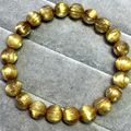 Alta qualidade natural genuine organizar titanium ouro rutilo cabelo trecho pulseira de olho de gato quartzo redonda contas 8.5mm 04517