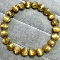 High Quality Natural Genuine Arrange Titanium Gold Hair Rutile Quartz Cat's Eye Stretch Bracelet Round Beads 8.5mm 04517