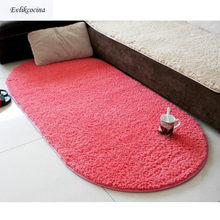Free Shipping Red Soft Plush Absorbent Sponge Living Room Coffee Table Cushion Sofa Mat Rug Parlor Hallway Non-slip Oval Carpet(China)