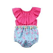 Pudcoco Newborn Kids Baby Girl Romper Cute Flamingo print POM POM Romper infant