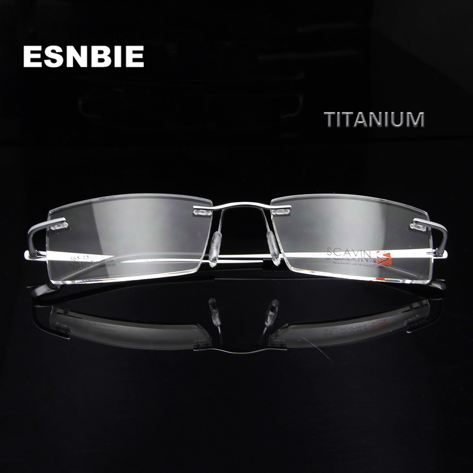 Men 39 S Titanium Eyeglasses Rimless Men Eyewear Frames Women Glasses Optical Ultralight Square Flexible Prescription Eyeglasses in Men 39 s Eyewear Frames from Apparel Accessories