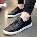 2016 del Resorte Nuevos Hombres Zapatos Casuales Tendencia de la Moda de Cuero de LA PU zapatos de Corea Bajo Para Ayudar A los Zapatos Masculinos Tendencia de La Personalidad de Los Hombres zapatillas de deporte