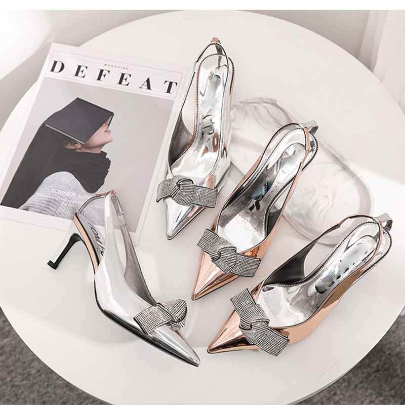 2019 Brand Slingback Women Pumps Luxury Rhinestones Butterfly Party Wedding Shoes Elegant  High heels Summer Prom Shoes Sandals 2