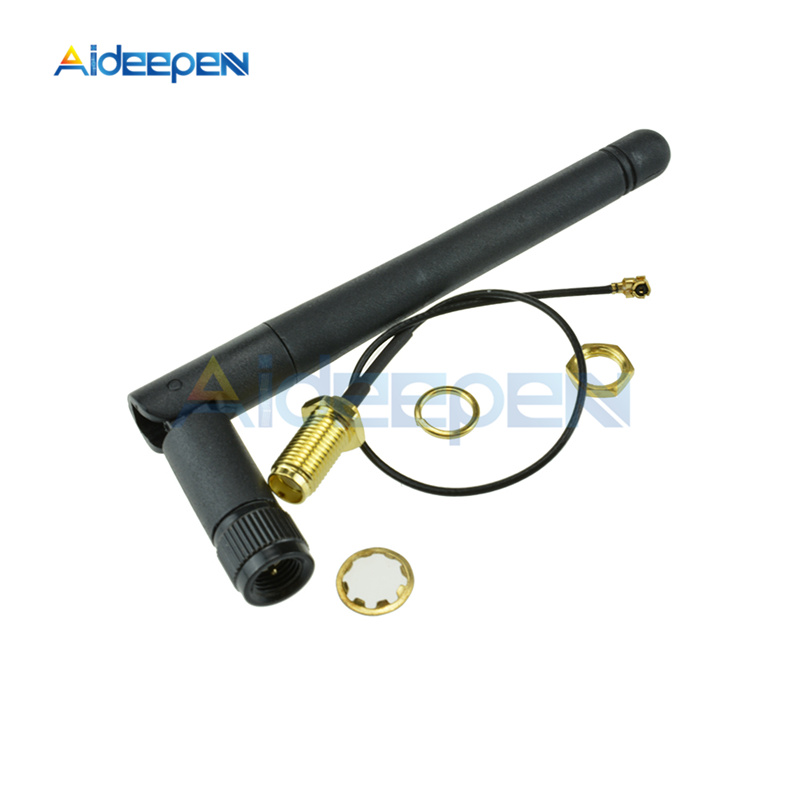 11cm 2.4G Wireless SMA Antenna Stick 2dB 2.5dB Gain For NRF24L01 PA CC2500 Module 20cm IPX Adapter Cable For Arduino
