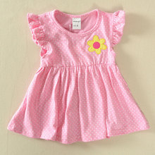 New girls dress sleeveless striped appliques dresses for girls cotton blue pink red vestidos baby girls clothes