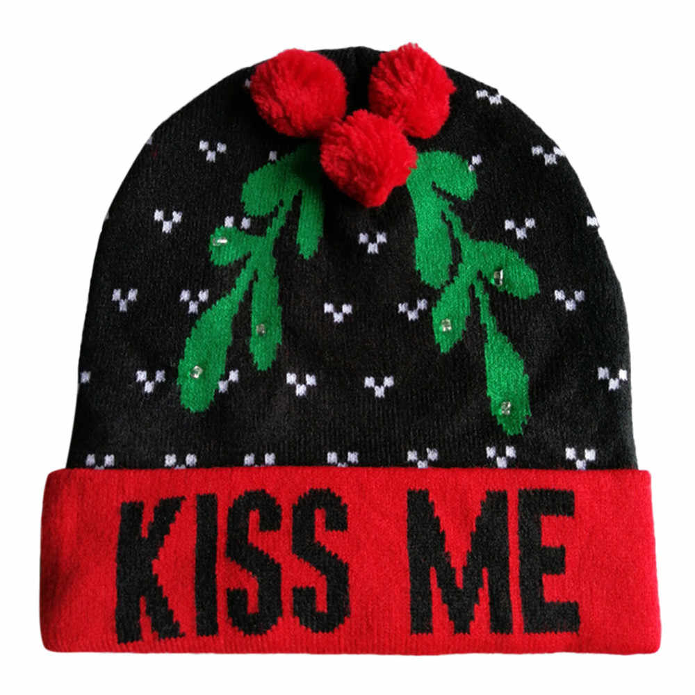 ... 2018 Women s Novelty Hat LED Light-up Knitted Beanies Ugly Sweater  Holiday Xmas Christmas Hats ... c4140e3c8934