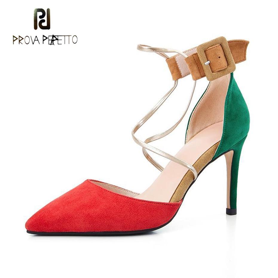 Sandales Couleur Talon Mélangée rouge Perfetto Suédé Sangle Prova En Pointu Chaussures Sexy 2019 Haut Noir Cuir Femmes Stiletto bling Pompes Dames Bout Boucle 6UOBOqnxC