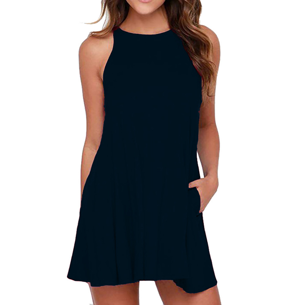 Women's  Solid O-Neck dress Swing Simple Sleeveless Pocket T-Shirt Camis Dress casual summer elegant spandex#G5