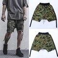 Kanye West Temor De Dios Shorts Pantalones Cortos de Camuflaje Hombres Y Mujeres Serpentinas Bibb Ardilla Voladora Casuales Heren Cruz-pantalones cortos