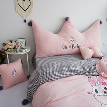 Pink White Cartoon Rabbit Embroidery Tassels Crown Super Soft Washed Cotton Big Backrest Bed Cushion Small Pillow Decorate