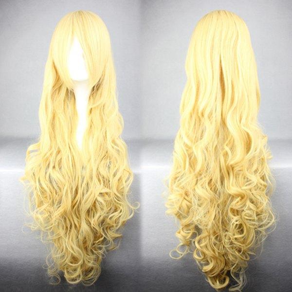Парик MCOSER Amagi с длинными вьющимися волосами для женщин и девушек, парики для косплея, светлого и желтого цвета, длиной 90 см, блестящие парки, д...