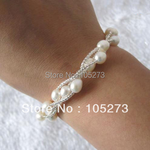 New Free Shipping New Arriver Pearl Jewelry 8inch AA 6-7MM White Color Rice Shaper 3Rows Genuine Freshwater Pearl Beads Bracelet