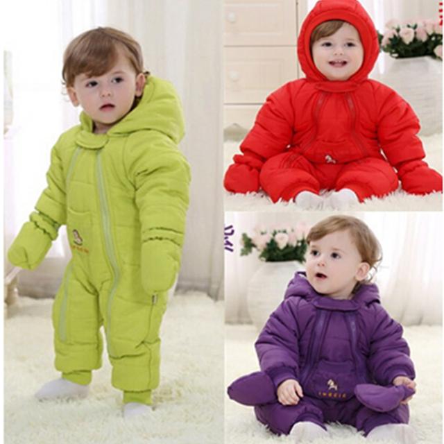 2016 de invierno bebé recién nacido mamelucos overol de tela prendas de vestir exteriores de los niños caliente abajo chaqueta acolchada de algodón con guantes de tamaño: 80-90-100