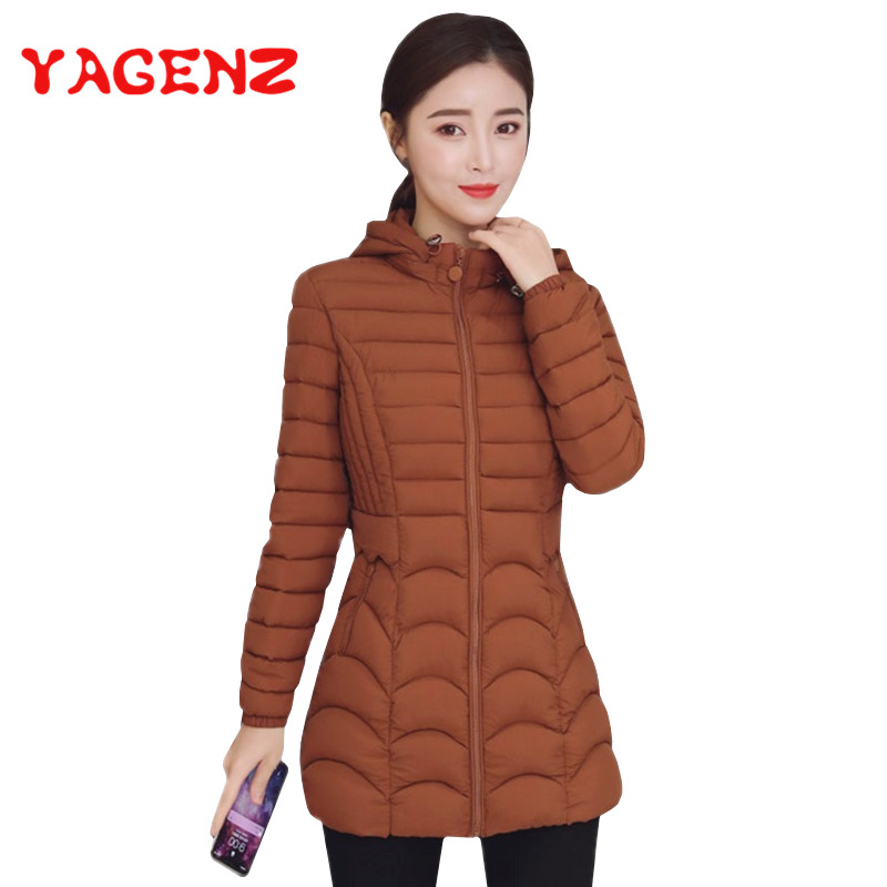 YAGENZ Autumn Winter Jacket Women   Parka   Coat Plus Size 6XL Korean Thin Down Cotton Jacket Women Tops Double Pocket Hooded Jacket
