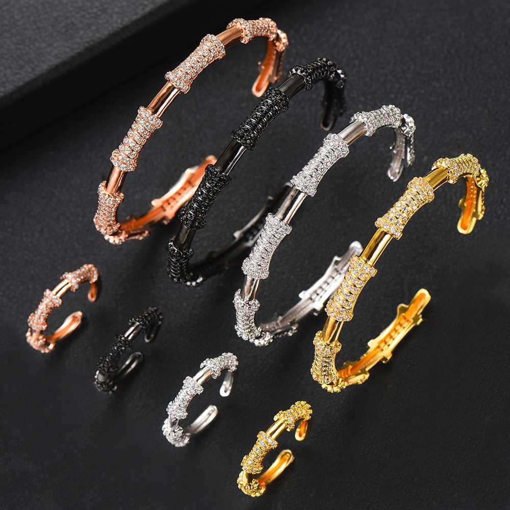 GODKI bambou noeud de luxe étincelant complet AAA cubique zircone géométrie conception femmes Bracelet Bracelet et ensemble de bagues ensembles de bijoux