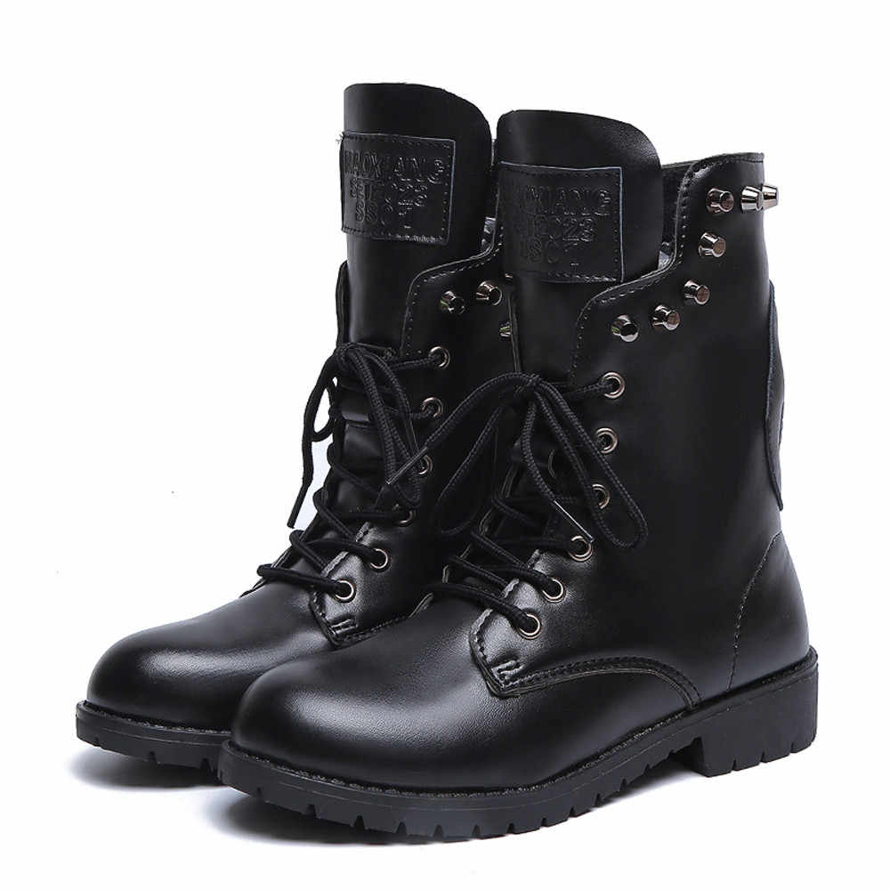 Detail Feedback Questions about Winter boots women Rivets Shoe Round Toe  Lace UP Strap Square Heel Single Shoe Martin s botas mujer  20180924 on ... ab7d9e13b6f6